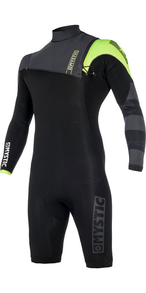 2018 Mystic Majestic 3/2mm Long Sleeve Shorty Wetsuit Zip Free BLACK / Lime 170261