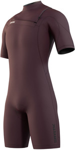 2021 Mystic Mens Marshall 3/2mm Chest Zip Shorty Wetsuit 210113 - Merlot