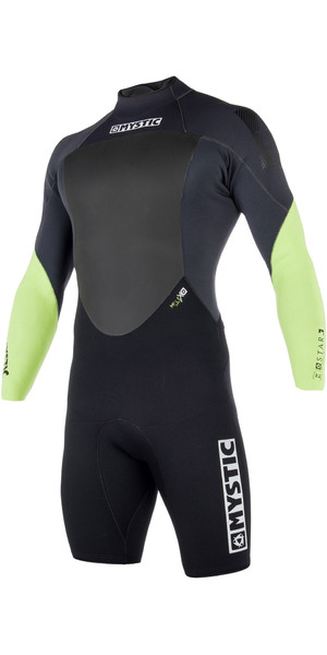 2019 Mystic Mens Star 3/2mm Back Zip long Arm Shorty Wetsuit Lime 180050