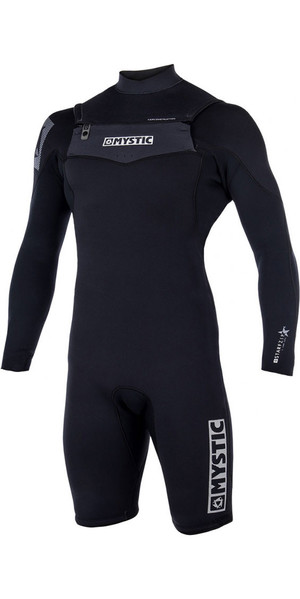 2018 Mystic Star 3/2mm Chest Zip long Arm Shorty Wetsuit Black 180136