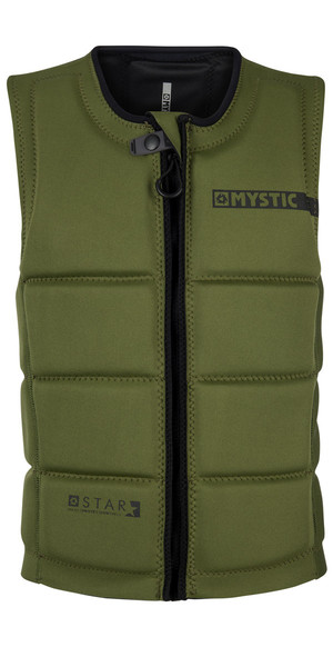 2018 Mystic Star Front Zip Wake Impact Vest Army 180152