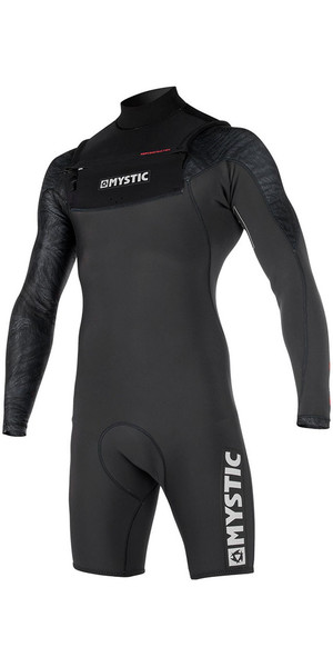 2018 Mystic Stone 3/2mm Chest Zip Long Arm Shorty Wetsuit Black 170312