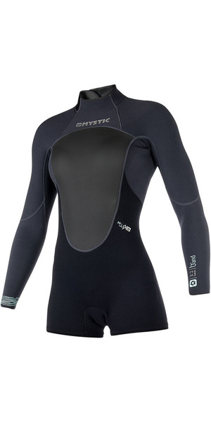 2018 Mystic Womens Brand 3/2mm Back Zip Long Arm Shorty Wetsuit Black 180070