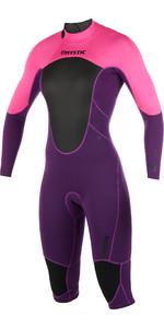 2019 Mystic Womens Brand 3/2mm Back Zip Long Arm Short Leg Wetsuit Purple 180068