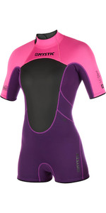 2019 Mystic Womens Brand 3/2mm Back Zip Shorty Wetsuit Purple 180071