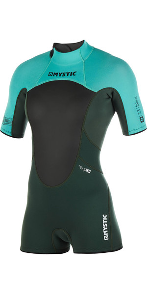 2019 Mystic Womens Brand 3 2mm Back Zip Shorty Wetsuit Teal 180071 Mystic 29fa77534