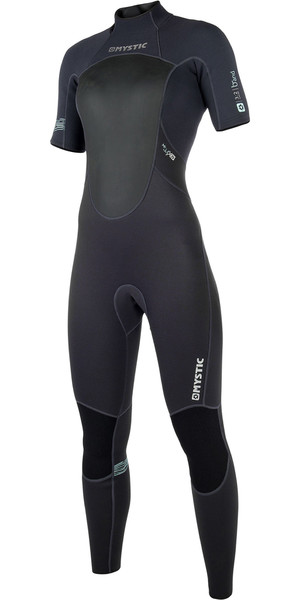 2019 Mystic Womens Brand 3/2mm Short Arm Back Zip Wetsuit Black 180069