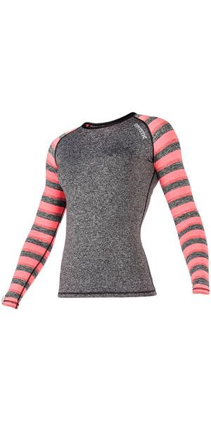 2018 Mystic Womens Dazzled L / S Rash Vest Coral 170296