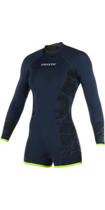 2019 Mystic Womens Diva 2mm Back Zip Long Arm Shorty Wetsuit Navy 190083