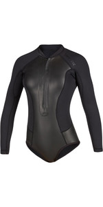 2020 Mystic Womens Diva Black Series Long Sleeve 2mm Front Zip Super Shorty Wetsuit 200077 - Black