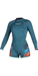 2020 Mystic Womens Diva Long Sleeve 2mm Back Zip Shorty Wetsuit 200072 - Teal