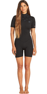 2019 Billabong Womens Synergy 2mm Shorty Wetsuit Black Palms N42G04