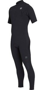 2019 Billabong Mens 2mm Pro Series Short Sleeve Chest Zip Wetsuit Black N42M02