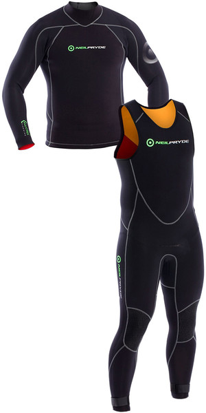 2018 Neil Pryde Elite Firewire 3mm Long Sleeve Top & Long John Wetsuit Combi Black