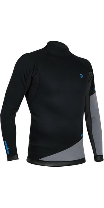 2020 Nookie Ti 1mm Neoprene Long Sleeve Vest Top Black / Grey / Cyan NE10