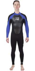 2019 Billabong Mens Intruder 4/3mm GBS Back Zip Wetsuit BLACK / Blue 044M15