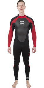 2019 Billabong Intruder 3/2mm GBS Back Zip Wetsuit BLACK / Red L43M51
