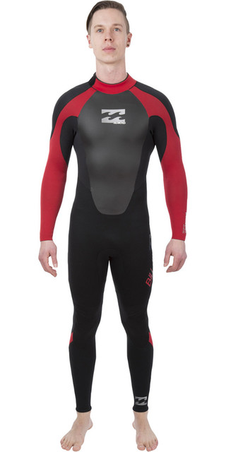 2018 Billabong Intruder 3/2mm Gbs Back Zip Wetsuit Black / Red L43m51 Picture