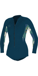 2021 O'Neill Womens Bahia 2/1mm Front Zip Long Sleeve Shorty Wetsuit 5363 - French Navy / Bridget