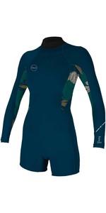 2021 O'Neill Womens Bahia 2/1mm Back Zip Long Sleeve Shorty Wetsuit 5291 - French Navy / Bridget
