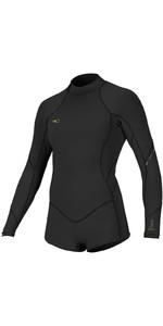 2020 O'Neill Womens Bahia 2/1mm Front Zip Long Sleeve Shorty Wetsuit 5363 - Glide Black