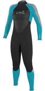 2018 O'Neill Womens Epic 5/4mm Back Zip GBS Wetsuit BLACK / Blue / STRIPE 4218