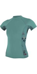 O'Neill Womens Side Print Short Sleeve Rash Vest 5058S - Green