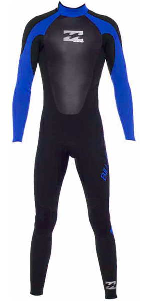 2018 Billabong Junior Intruder 5/4/3mm GBS Back Zip Wetsuit in BLACK / Blue 045B15