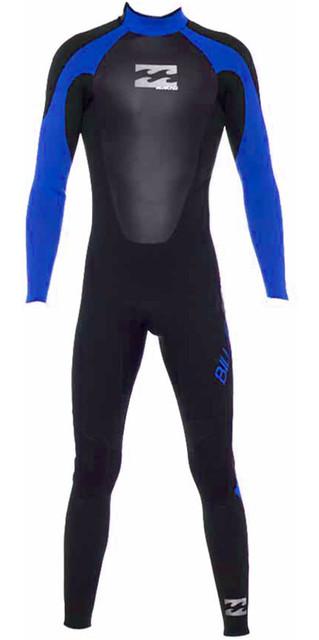 2018 Billabong Junior Intruder 5/4/3mm Gbs Back Zip Wetsuit In Black / Blue 045b15 Picture