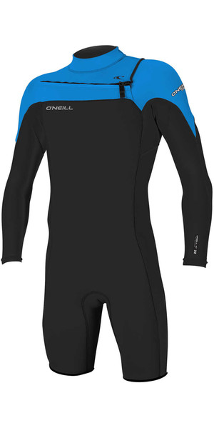 2018 O'Neill Hammer 2mm Chest Zip Long Sleeve Shorty Wetsuit BLACK / OCEAN 4928