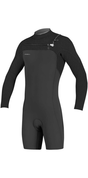 2021 O'Neill Hyperfreak 2mm Chest Zip GBS Long Sleeve Shorty Wetsuit BLACK 5004