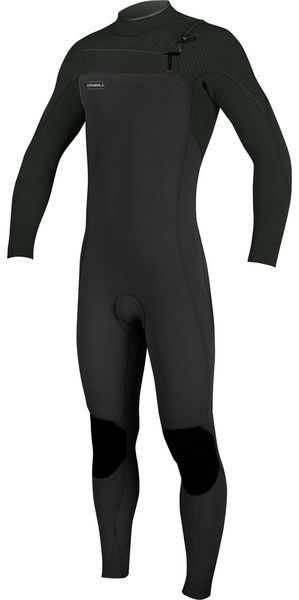 2018 O'Neill Hyperfreak 3/2mm Chest Zip GBS Wetsuit DARK OLIVE / BLACK 5000