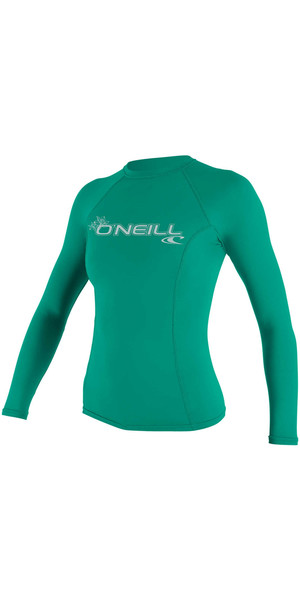 2018 O'Neill Womens Basic Skins Long Sleeve Crew Rash Vest SEAGLASS 3549