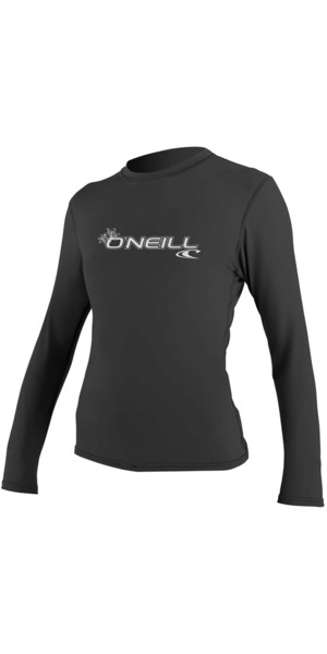 2018 O'Neill Womens Basic Skins Long Sleeve Rash Tee BLACK 4340