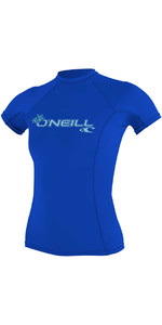 2018 O'Neill Womens Basic Skins Short Sleeve Crew Rash Vest TAHITIAN BLUE 3548