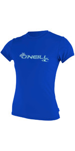 2018 O'Neill Womens Basic Skins Short Sleeve Rash Tee TAHITIAN BLUE 3547