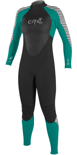 2018 O'Neill Womens Epic 3/2mm GBS Back Zip Wetsuit BLACK / GREEN / STRIPE 4213