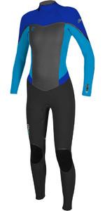 2018 O'Neill Womens Flair 3/2mm Back Zip Wetsuit BLACK / SKY / TAHITIAN BLUE 4765