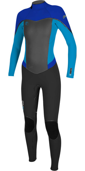 2018 O'Neill Womens Flair 3/2mm Back Zip Wetsuit BLACK / SKY / TAHITIAN BLUE 4765