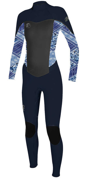 2018 O'Neill Womens Flair 4/3mm Back Zip Wetsuit NAVY / INDIGO 4766