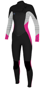 O'Neill Womens O'riginal 4/3mm Chest Zip Wetsuit BLACK / PUNK PINK 5015