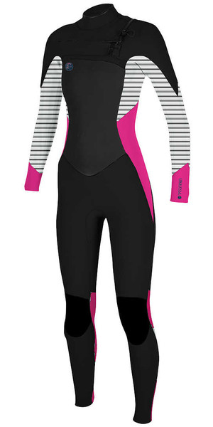 2018 O'Neill Womens O'riginal 4/3mm Chest Zip Wetsuit BLACK / PUNK PINK 5015