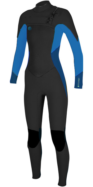2018 O'Neill Womens O'Riginal 3/2mm Chest Zip Wetsuit BLACK / SLATE / BLUE 5014 SECOND