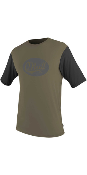 2018 O'Neill Premium Skins Graphic Short Sleeve Rash Tee KHAKI /  BLACK 5077SB
