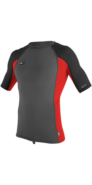 2018 O'Neill Premium Skins Short Sleeve Rash Vest GRAPHITE / RED 4169B