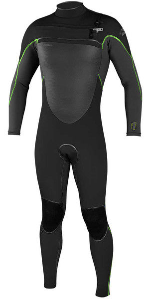 2018 O'Neill Psycho Freak 3/2mm Chest Zip Wetsuit BLACK / GRAPHITE / DAYGLO 4959