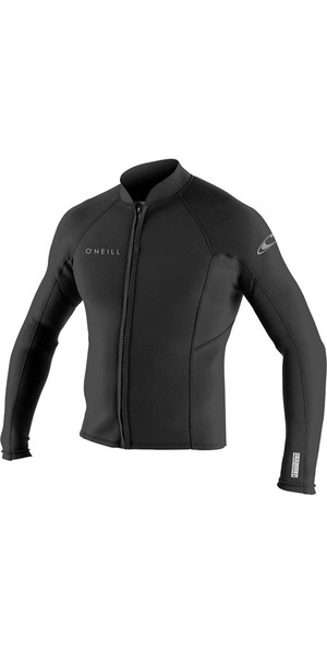 2018 O'Neill Reactor II 2mm Neoprene Front Zip Jacket BLACK 5046