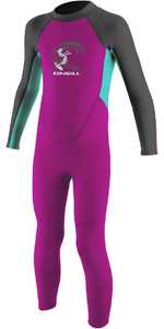 2021 O'Neill Toddler Girls Reactor 2mm Back Zip Wetsuit BERRY / AQUA 4868G