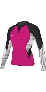 2018 O'Neill Womens Bahia 1mm Front Zip Long Sleeve Neoprene Jacket PUNK PINK 4934