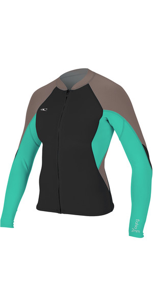 2018 O'Neill Womens Bahia 1mm Full Zip Long Sleeve Neoprene Jacket BLACK / CAPRI BREEZE 4933
